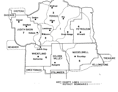 Map of Fergus Electric Cooperative's Service Area